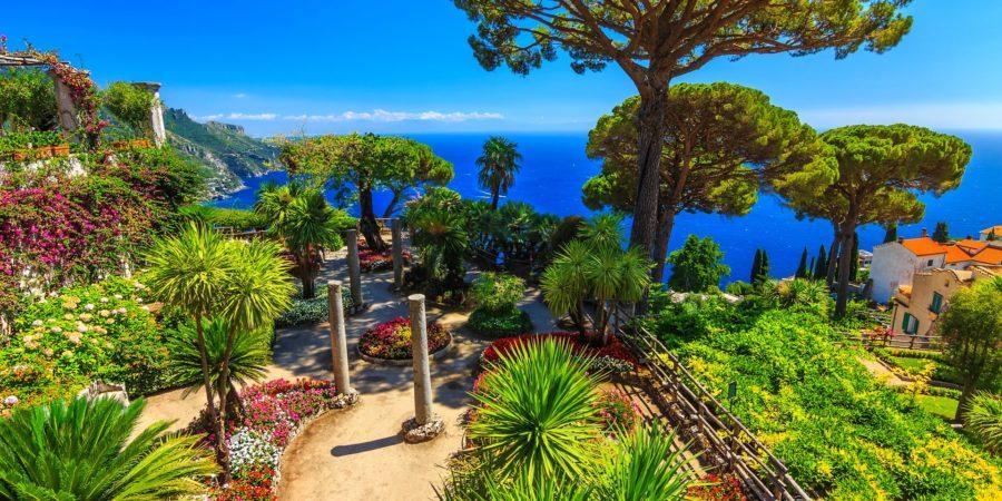 Jardins da Villa Rufolo em Ravello, uma parada obrigatória em um roteiro pela Costa Amalfitana.